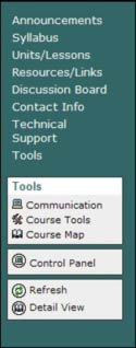 A screen shot of the template course