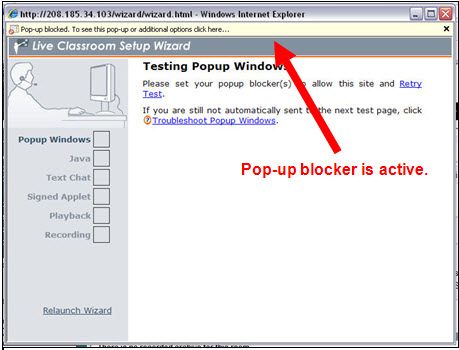 Popup blocker yellow bar